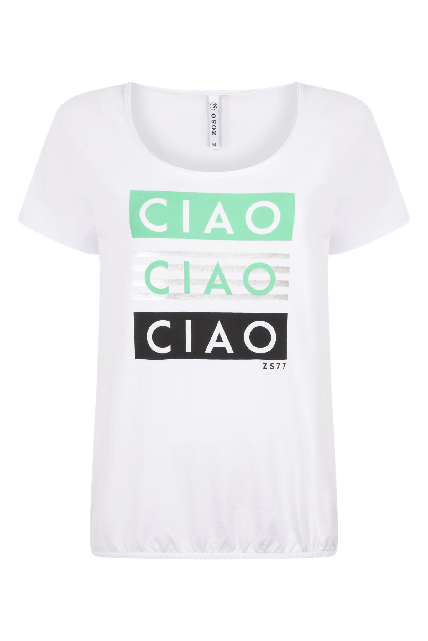 Zoso Zoso Ciao t-shirt with print white/green