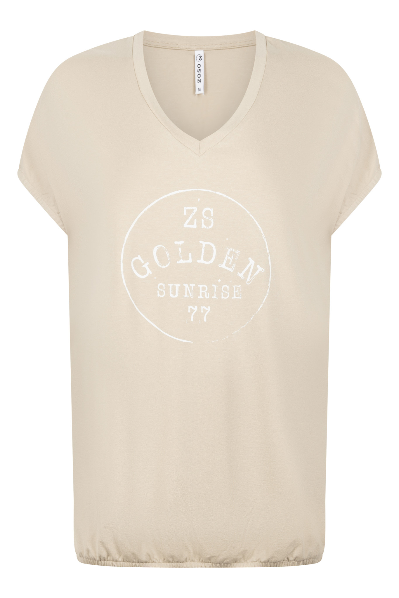 Zoso Zoso Gina shirt with print sand/white