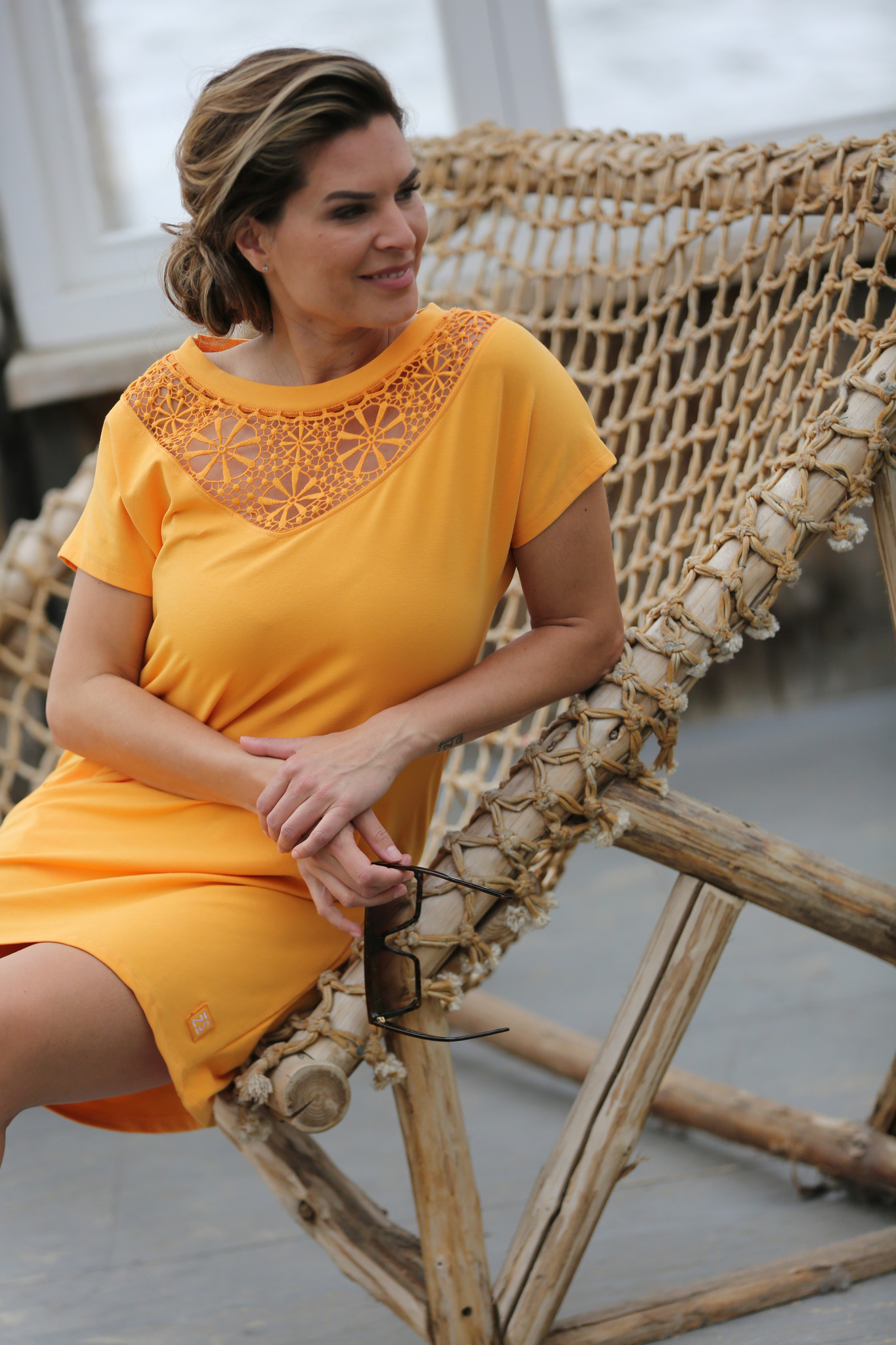 Zoso Zoso Bregje jurk with embroderie summergold