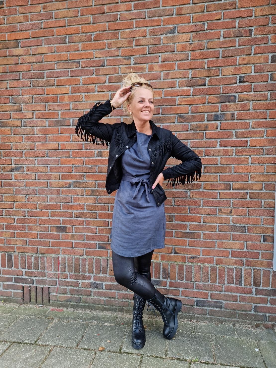 C&S The label C&S The label Mere jurk jeansblauw