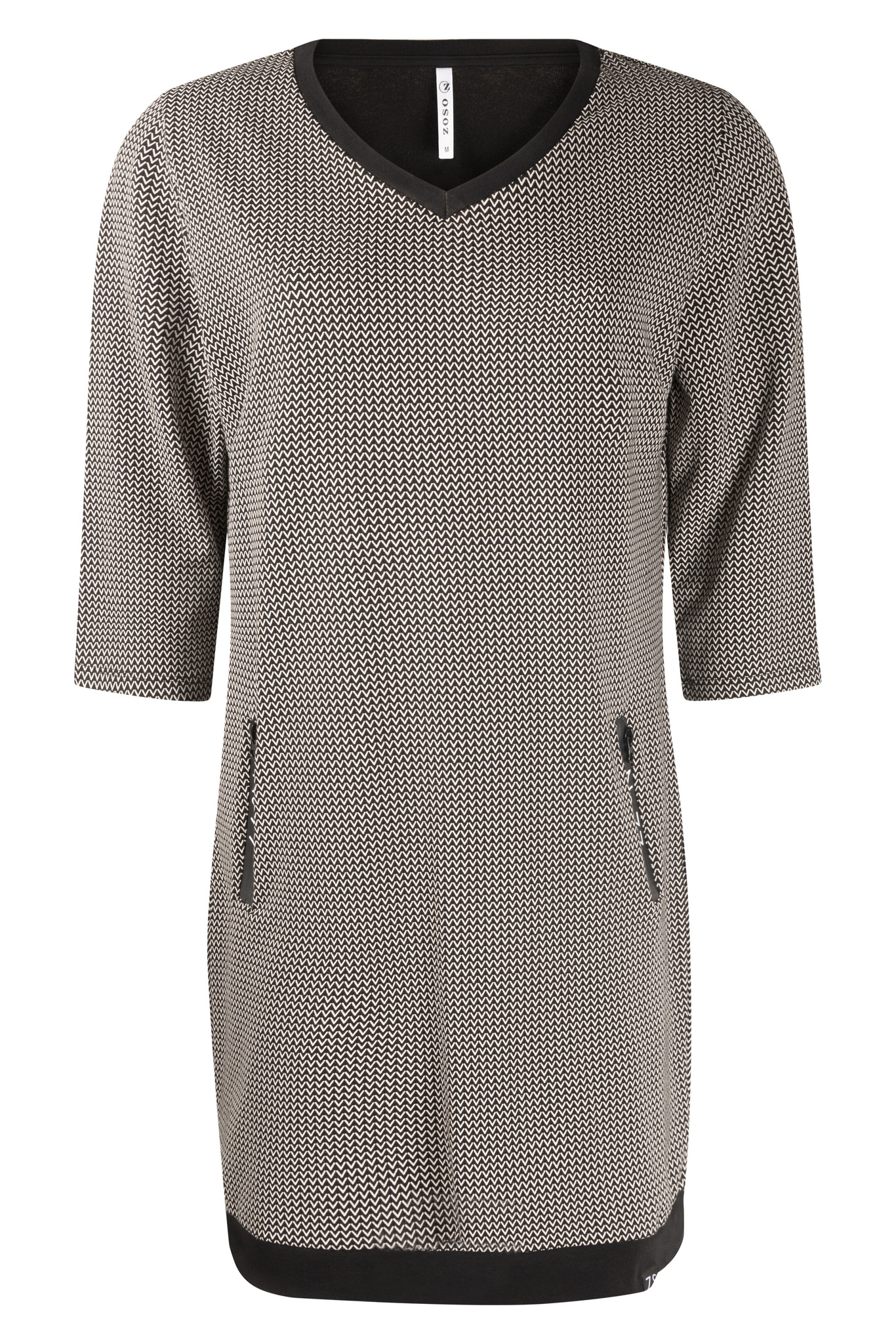Zoso Zoso 215 Mandy Sporty printed dress with details black/off white