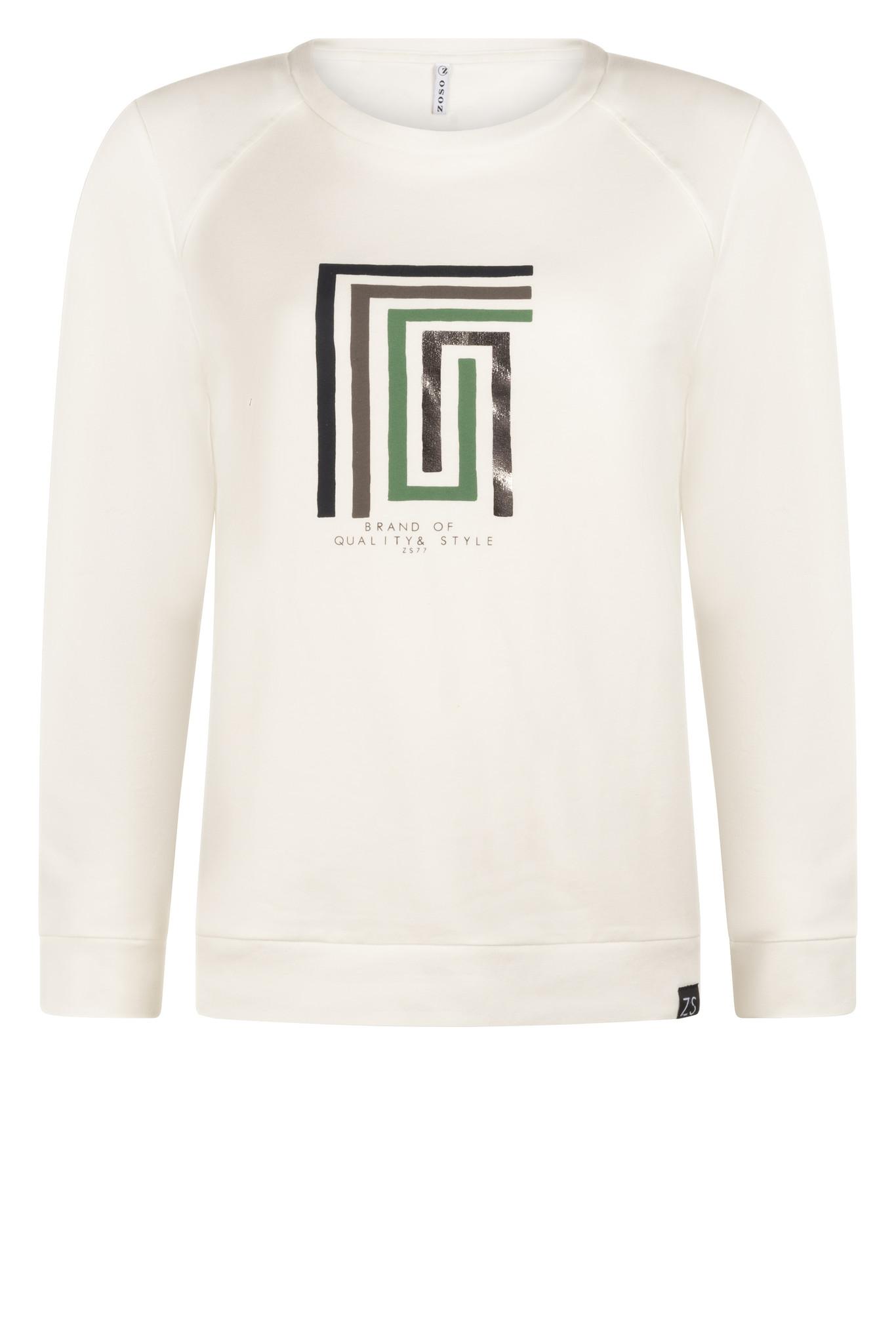 Zoso Zoso 215 Lauren Sweater with mult print  offwhite/green