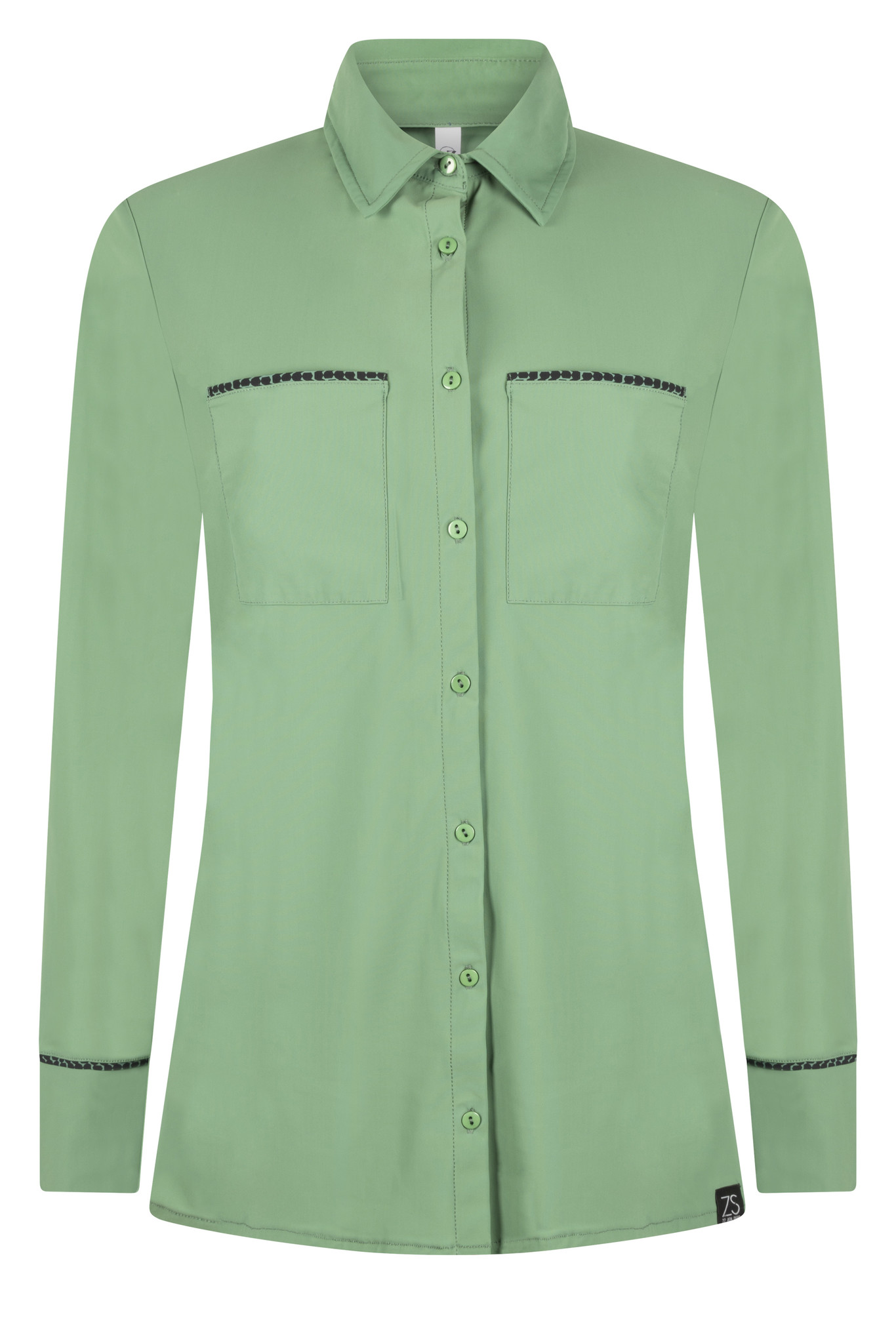 Zoso 215 Vera Travel blouse with piping  green/black