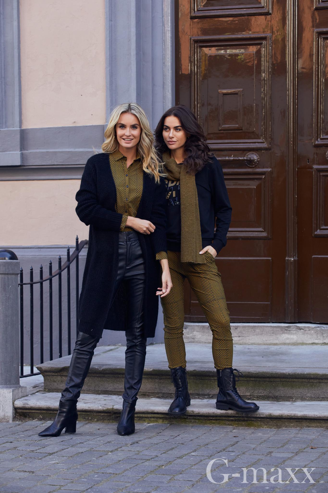 G-Maxx G-Maxx Kyla blouse zwart/olijfgroen