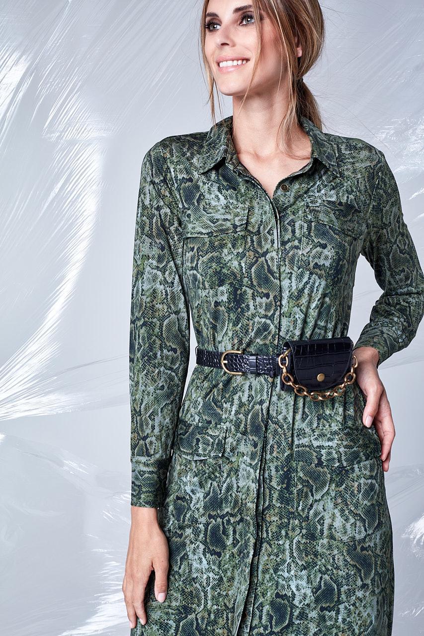 K-Design K-Design T111 jurk met zakjes, print & riem