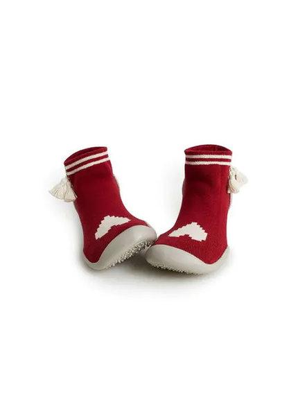 Collegien Sokpantoffels rood met hartje