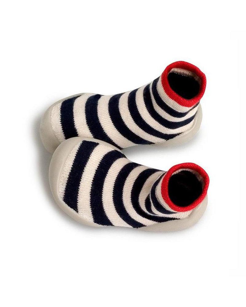 Collegien Sokpantoffels Blauw/wit gestreept