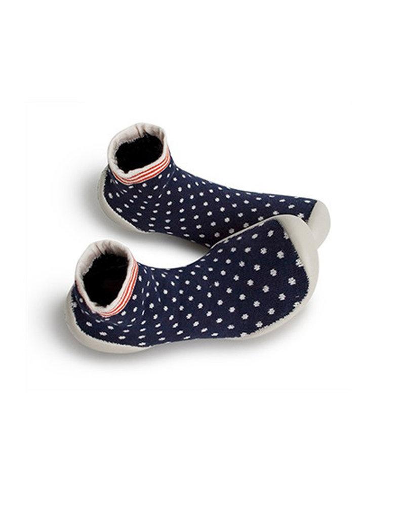 Collegien Sokpantoffels stippen wit/blauw