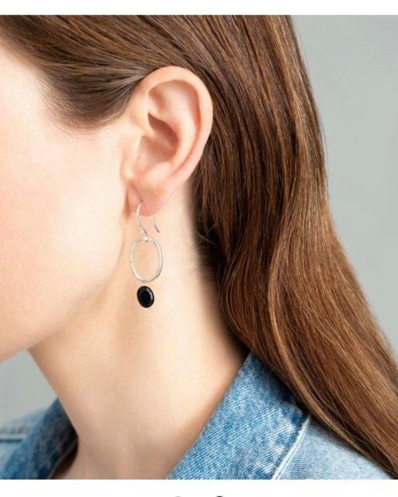 A Beautiful Story Graceful Earrings - Black Onyx Silver