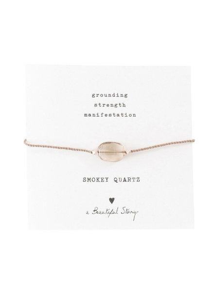 A Beautiful Story Gemstone Card Bracelet Smokey Quartz Silver