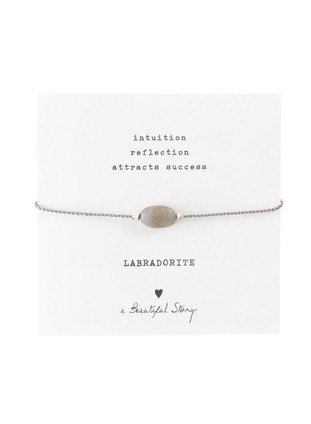 A Beautiful Story Gemstone Card Bracelet Labradorite Silver