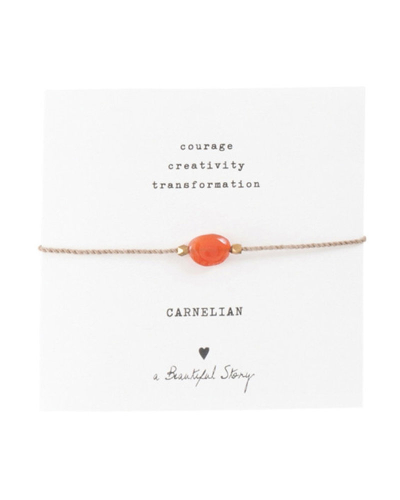 A Beautiful Story Gemstone Card Bracelet Carnelian Gold