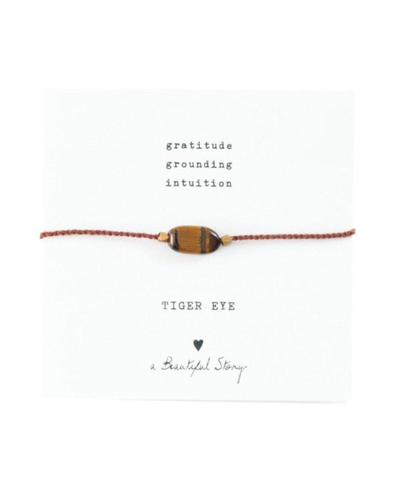 A Beautiful Story Gemstone Card Bracelet Tiger Eye Gold