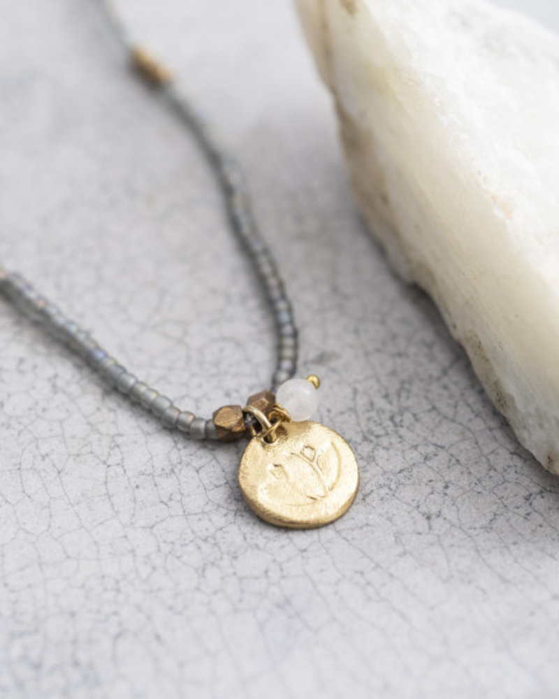 A Beautiful Story Truly Necklace Moonstone Lotus Gold