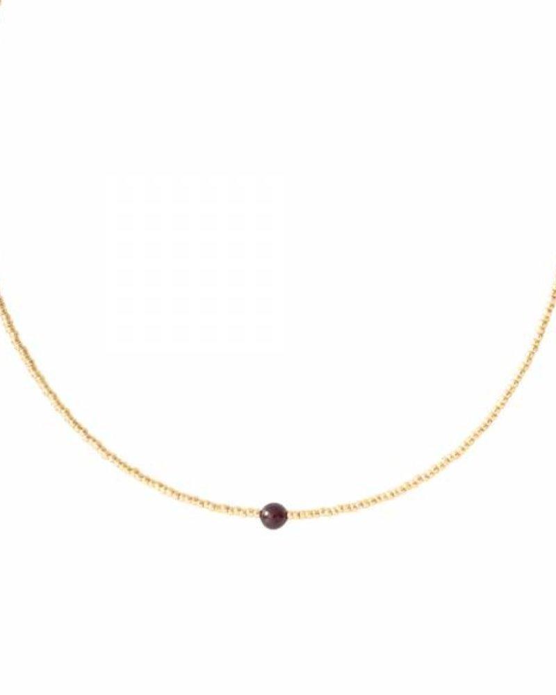 A Beautiful Story Flora Necklace Garnet Gold