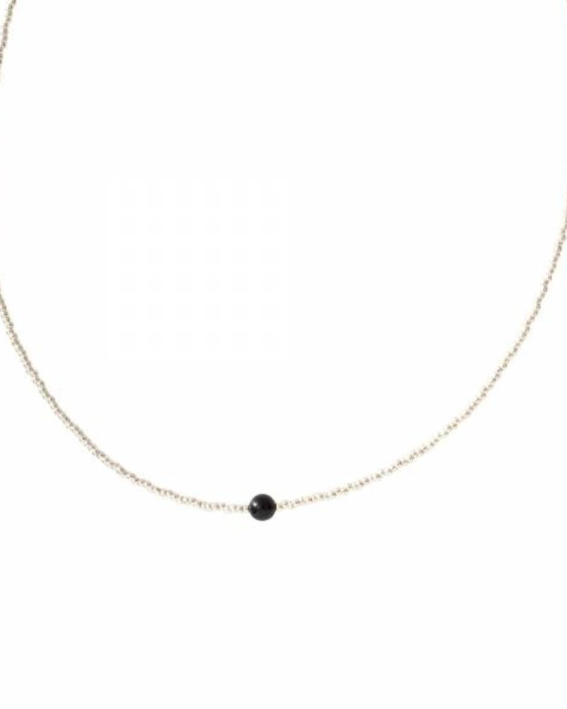 A Beautiful Story Flora Necklace Black Onyx Silver