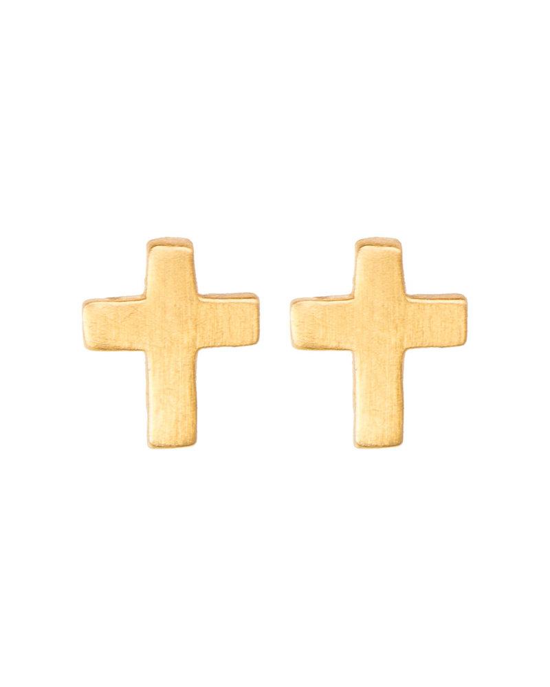 By Bar PD Cross earring Gold