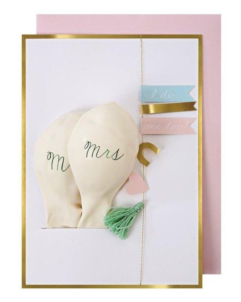 Meri Meri Huwelijkskaart Mr & Mrs ballonnen