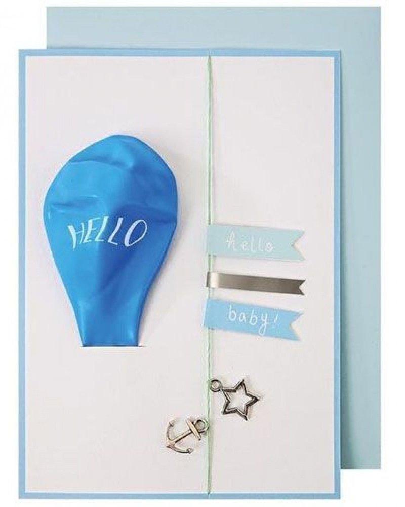Meri Meri Kaartje Hello Blue Balloon
