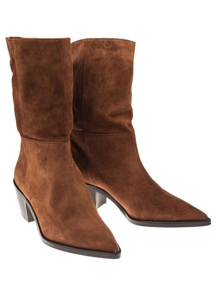 Auguste Half hoge boots Velours Cognac