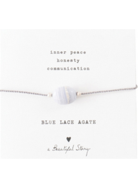 A Beautiful Story Gemstone Card Bracelet Blue Lace Agate