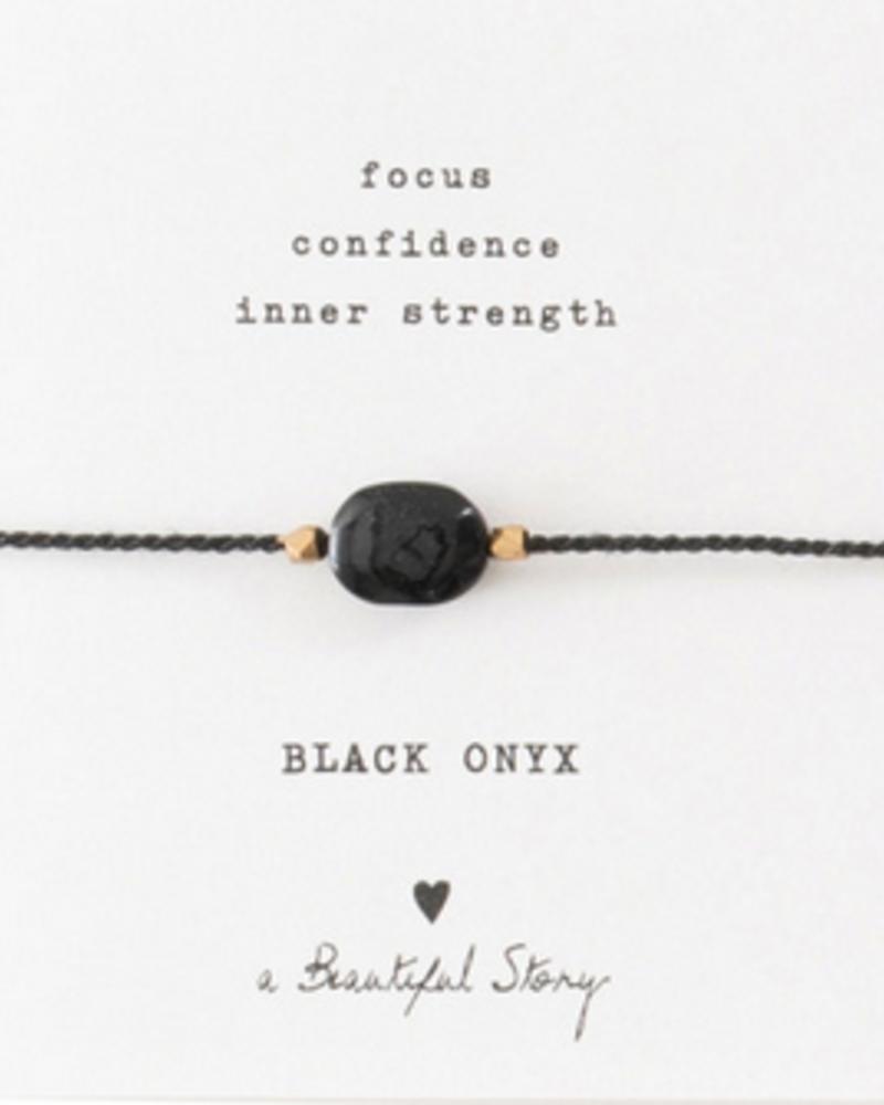 A Beautiful Story Gemstone Card Bracelet Black Onyx Gold