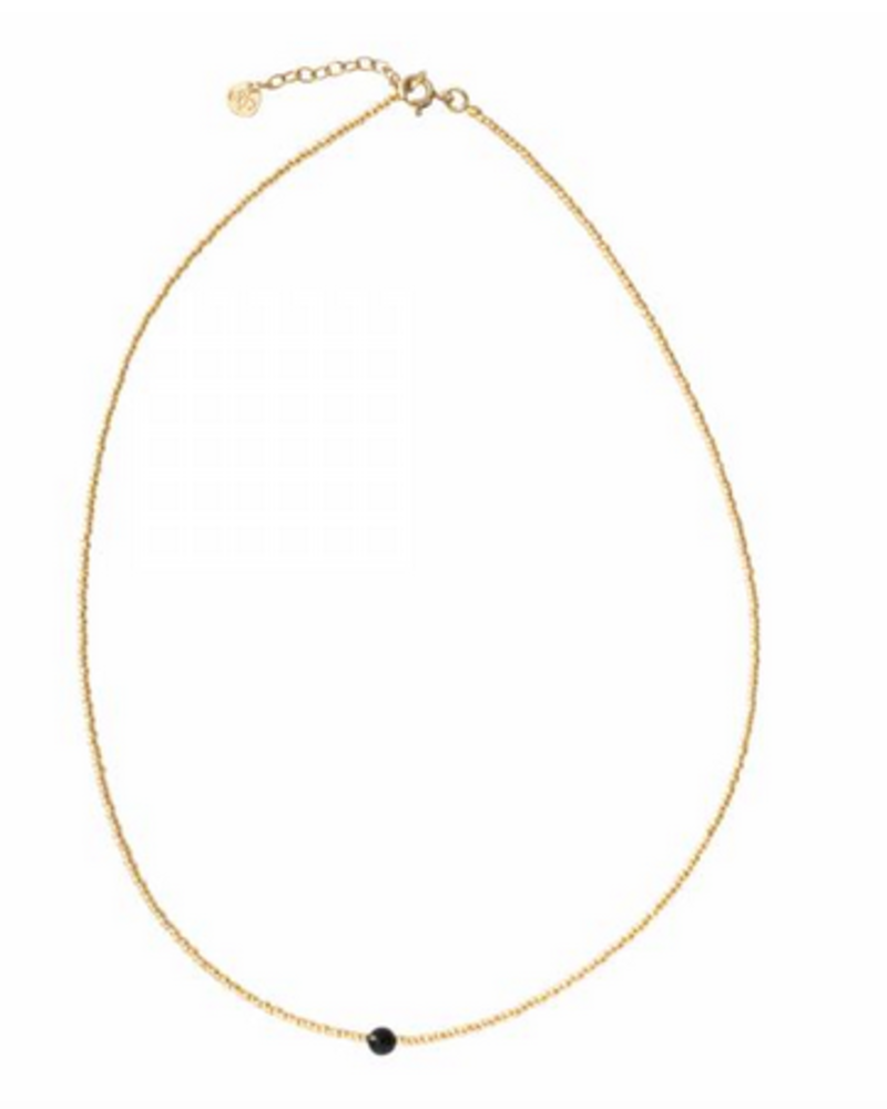 A Beautiful Story Flora Necklace Black Onyx Gold