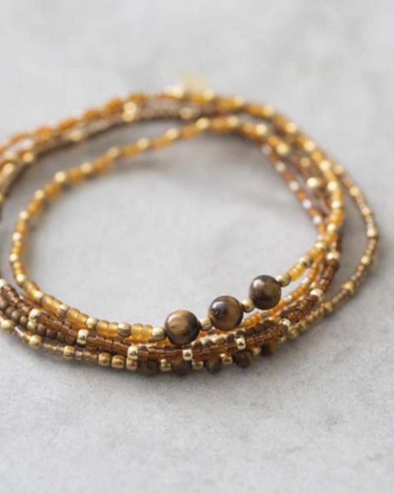 A Beautiful Story Together Bracelet Tiger Eye Gold