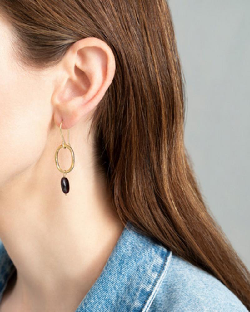 A Beautiful Story Graceful Earrings - Garnet Gold
