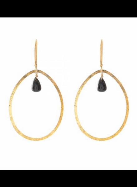 A Beautiful Story Ellipse Earrings - Black Onyx Gold