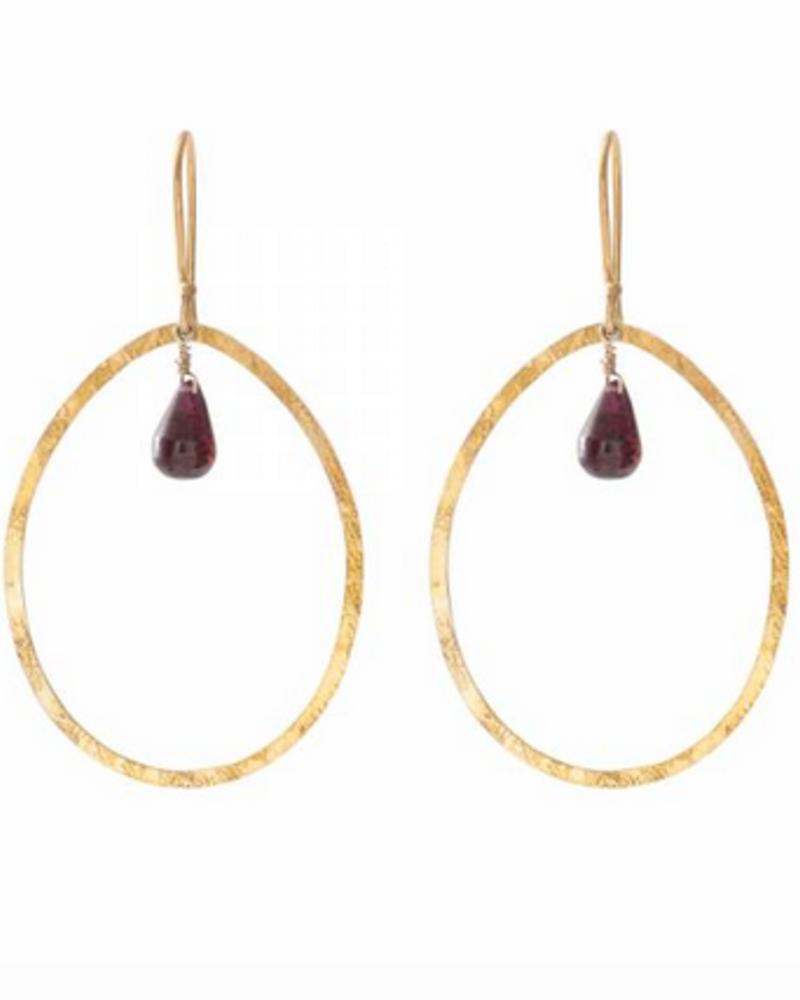 A Beautiful Story Ellipse Earrings - Garnet Gold