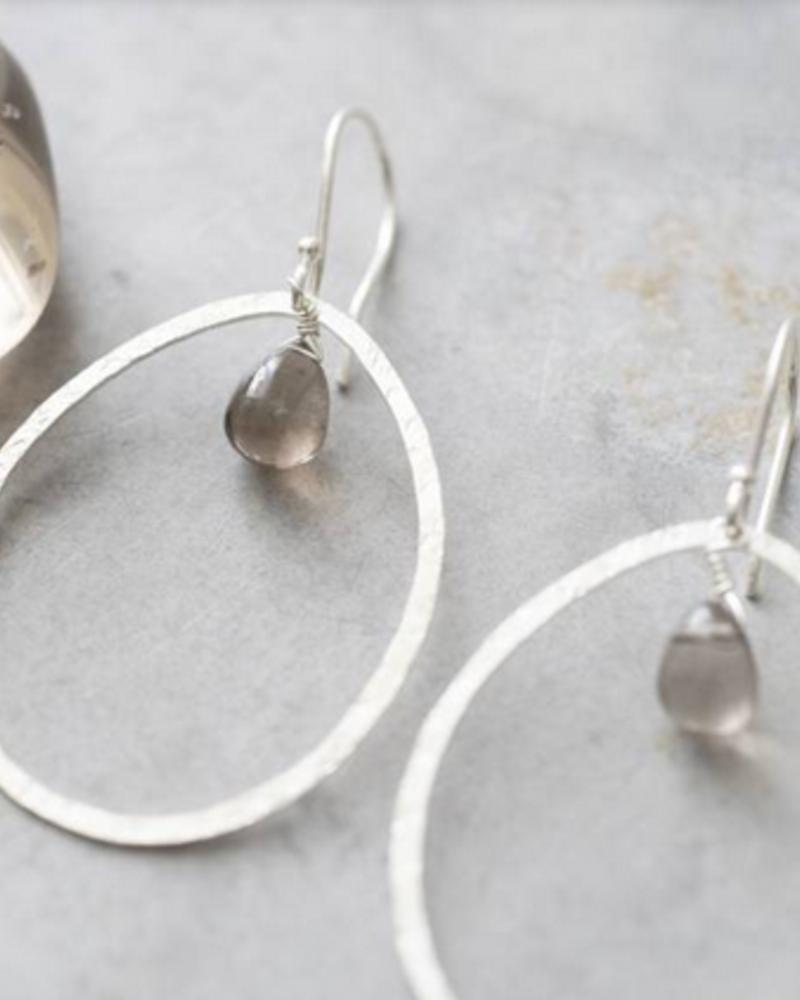 A Beautiful Story Ellipse Earrings - Smokey Quartz Silver