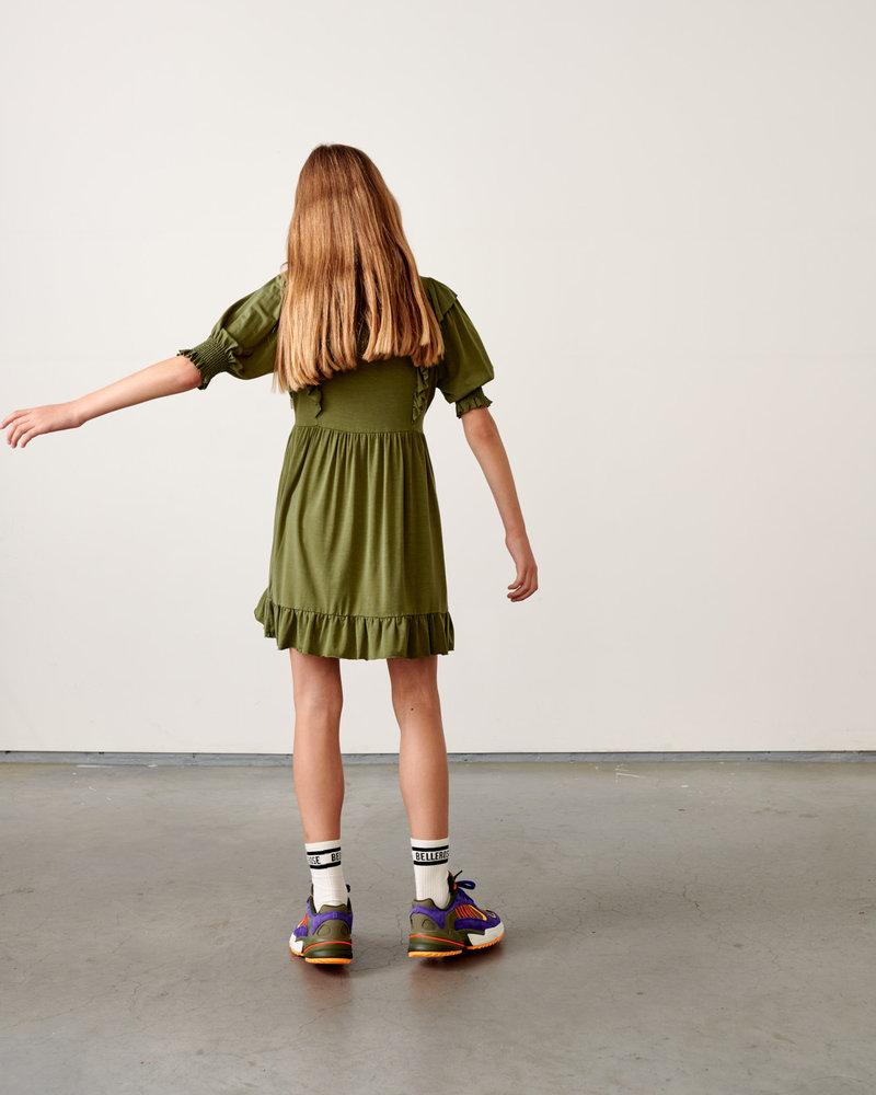 Bellerose Miu Mini-jurk met ruches - Army