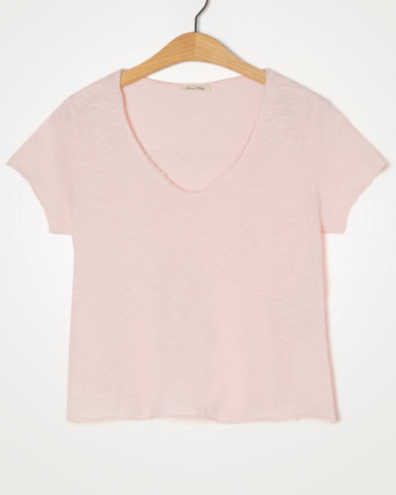 American Vintage T-shirt korte mouw V-hals Sonoma Rosee Vintage