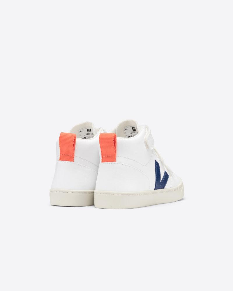 Veja Small V-10 Mid Velcro Kids - White/Cobalt/Orange