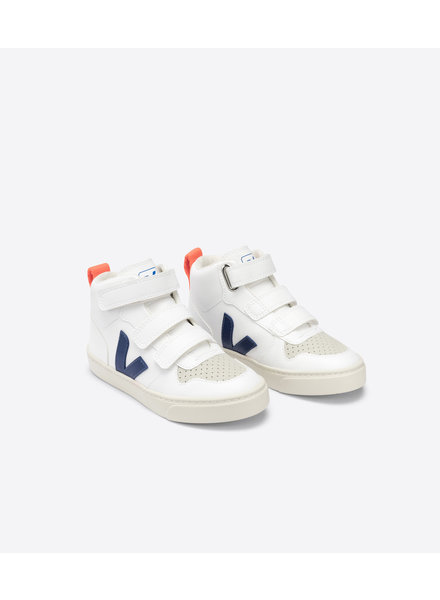 Veja Small V-10 Mid Velcro Kids - White/Cobalt/Orange