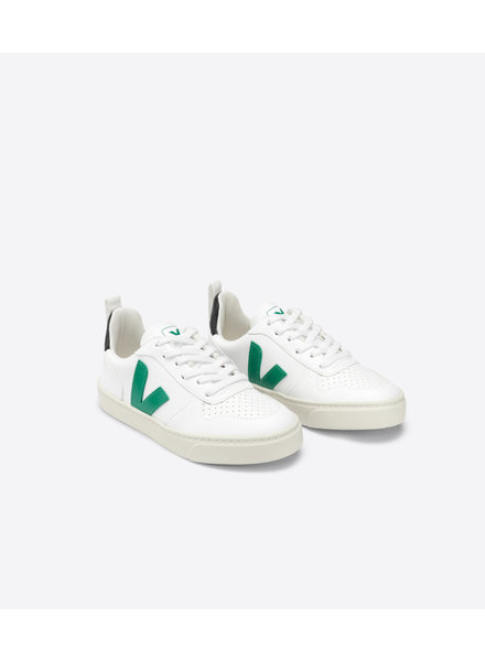 Veja Small V-10 Veters Junior - White/Emeraude/Black