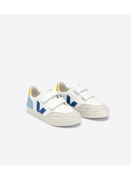 Veja Small V-12 Velcro Junior - White/Multicolor/Steel