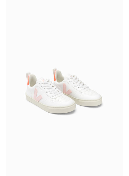 Veja Small V-10 Veters Junior - White/Pink/Orange