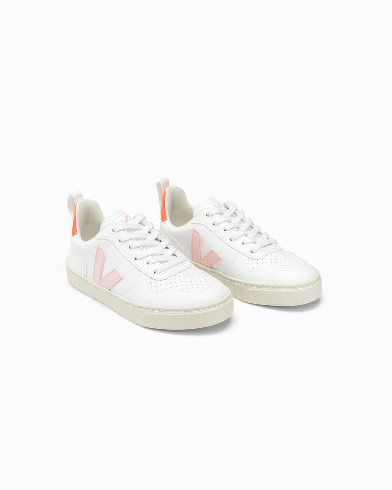 Veja Small V-10 Veters Junior - White/Pink/Orange