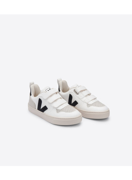 Veja Small V-10 Velcro Junior - White/Black