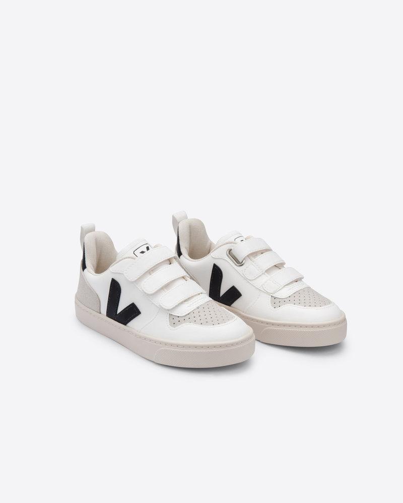 Veja Small V-10 Velcro Junior - White/Black
