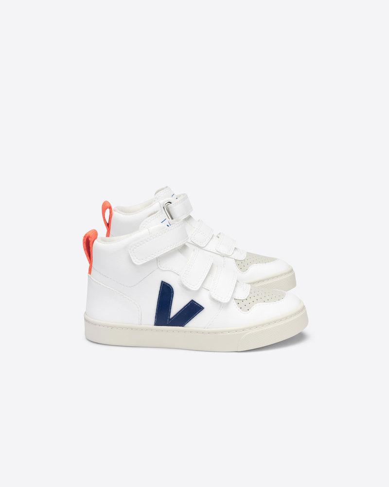 Veja Small V-10 Mid Velcro Junior - White/Cobalt/Orange