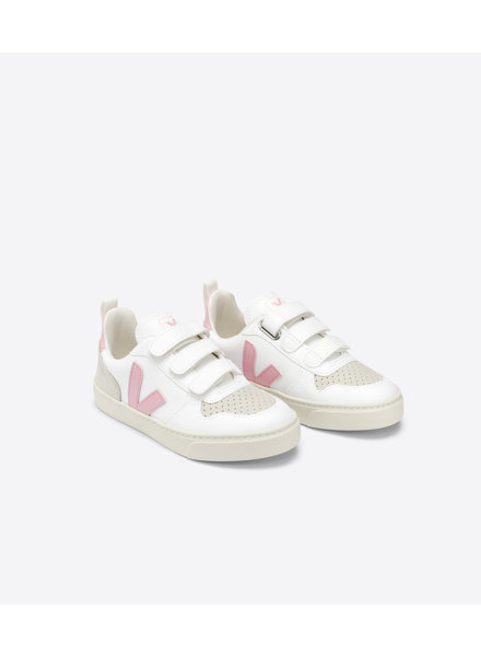 Veja Small V-10 Velcro Junior - White/Pink