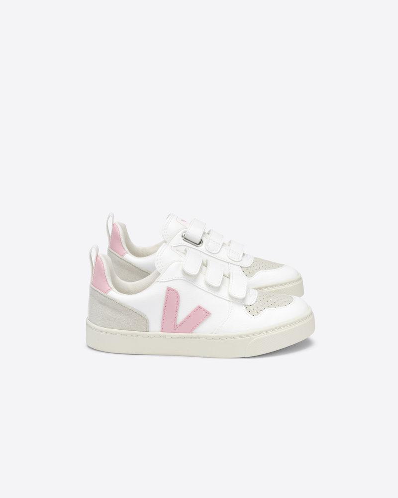 Veja Small V-10 Velcro Junior - White/Pink