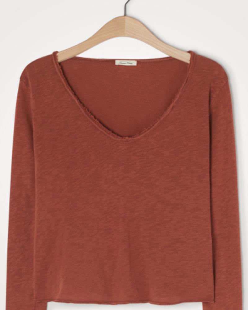 American Vintage T-shirt lange mouw V-hals Sonoma Tomette vintage