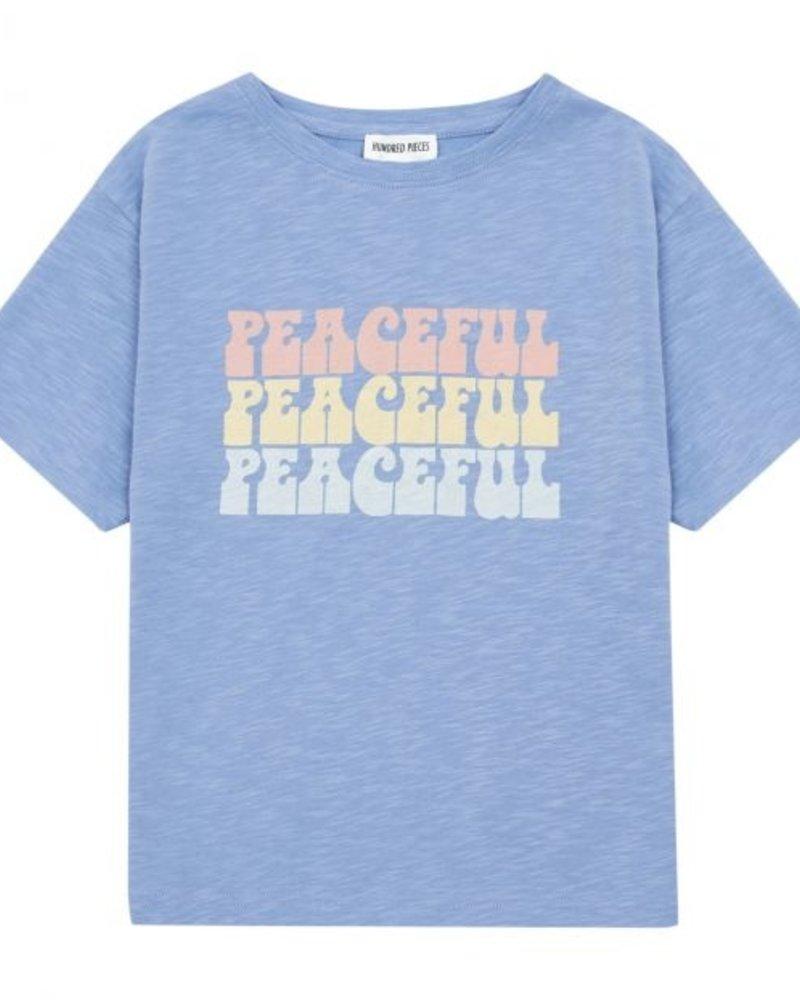 Hundred Pieces Peacefull Organic Cotton T-Shirt Blue