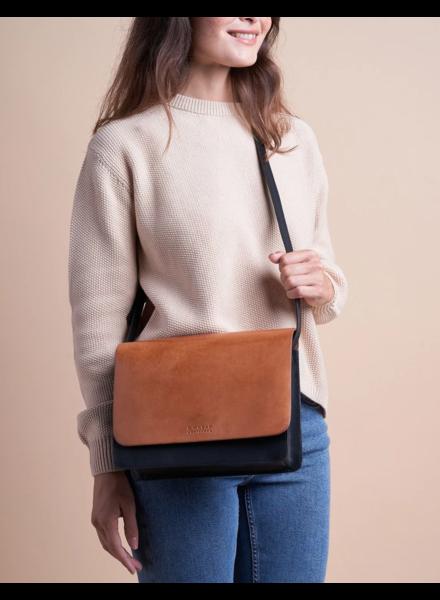 O My Bag The Audrey Zwart & cognac / klassiek leer