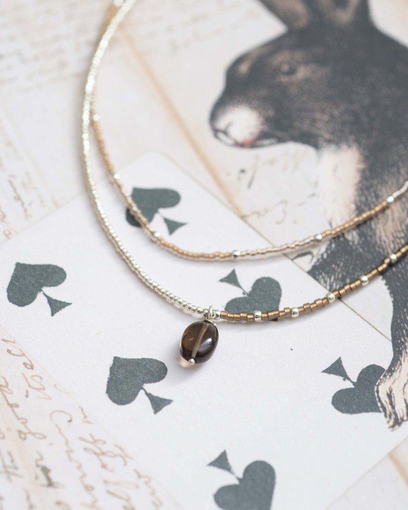 A Beautiful Story Rainbow Necklace Smokey Quartz Silver