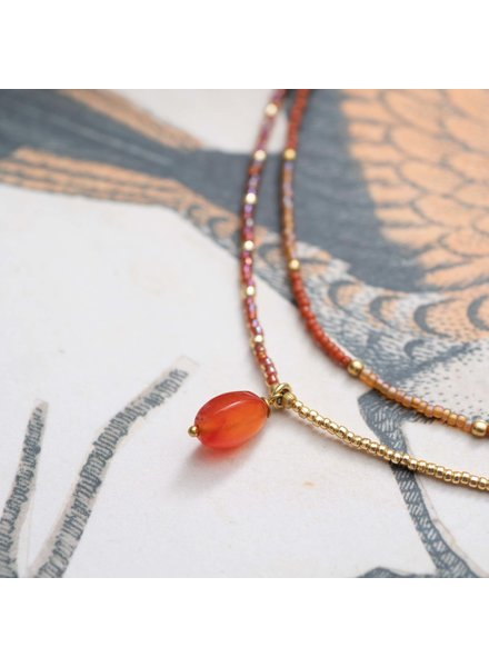 A Beautiful Story Rainbow Necklace Carnelean Gold